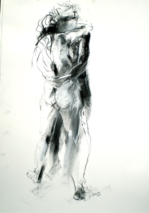 Human figures titled Lovers, 2006, life drawing of female and male figures by Elaine d'Esterre