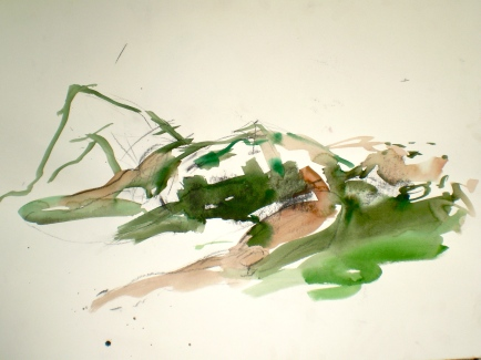 Figure titled After Exercise, 2007, life drawing of reclining male model by Elaine d'Esterre
