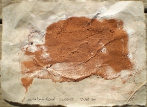 Walga Rock paper stain 1, 24/04/13, 7.40 am, soil stain on rice paper.