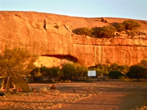 Walga Rock cave entrance before sunset.