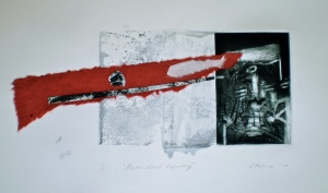 Dawn Cloud Trajectory, 2010, 15x30 cm print, 35x50 cm paper, intaglio and collage
