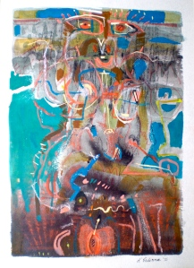 Female Entity 2, 1980, gouache, ink, charcoal, pastel 40x28 cm. Permission of the collector.