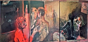 E. d'Esterre. About Durer's Witch, 1995 - 1997, triptych, 90x252 cm, oil on canvas, from exegesis titled Feminist Poetics