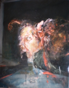 Face and Horn, 1994, 76x66 cm, oil on canvas, from Feminist Poetics