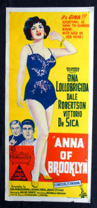 "Gina Lollobrigida starring in "" Anna of Brooklyn "", 1958, Vintage Daybill movie poster."