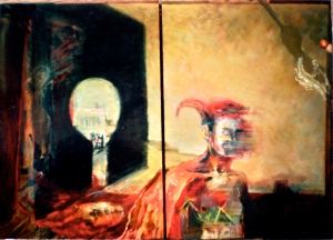 Elaine d'Esterre. The Original Sudarium, 1994 - 1995, diptych, 132x180 cm, oil on canvas, from my PhD exegesis titled Feminist Poetics: Symbolism in an Emblematic Journey about Self and Vision