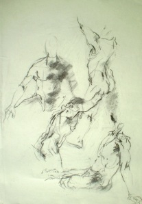 Human figures, quick sketches in charcoal, 2003, 70x50 cm, charcoal.