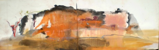 Kakadu landscape titled Anbangbang Billabong 4, 2003, 30x100 cm, pastel stain on Fabriano