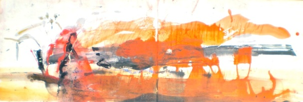 Kakadu landscape titled Anbangbang Billabong 5, 2003, 34x100 cm, pastel stain on Fabriano