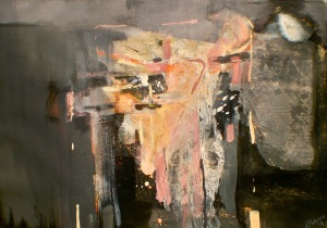 Art, landscape painting titled Like an Entablature, 2012, 52x73 cm, gouache and pastel