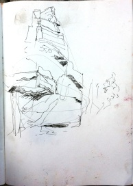 Sketch in ink pen of second gorge in Katherine Gorge