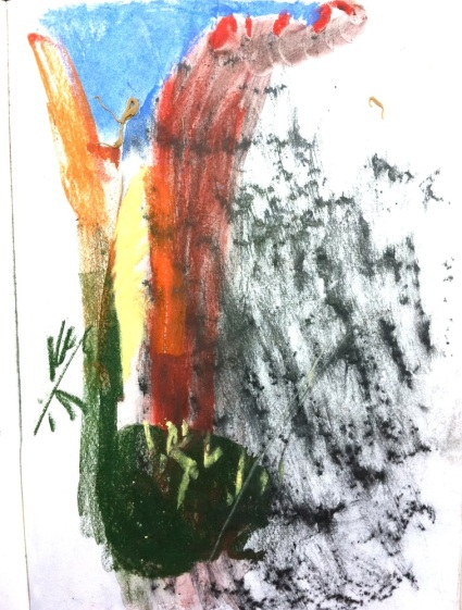 Sketch in pastel with frottage in pencil at Edith Falls.