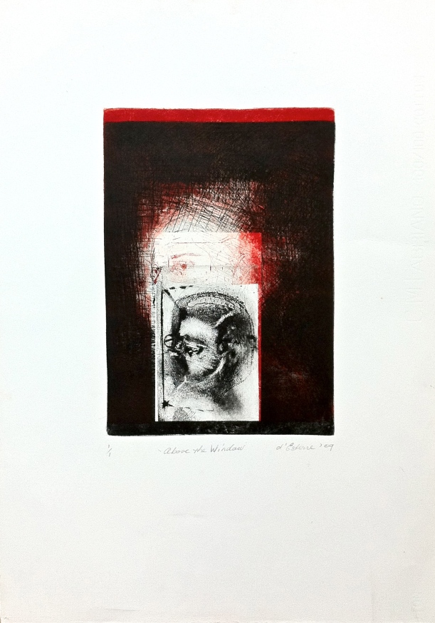 Above the Window,1/1, 2009, intaglio and drypoint on Fabriano