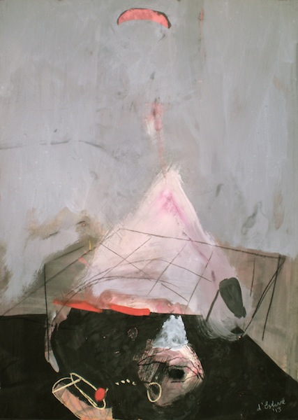 Art titled Interior Land, 2013, 60x45 cm, gouache and pastel from Begin with Sand, Silt and Water