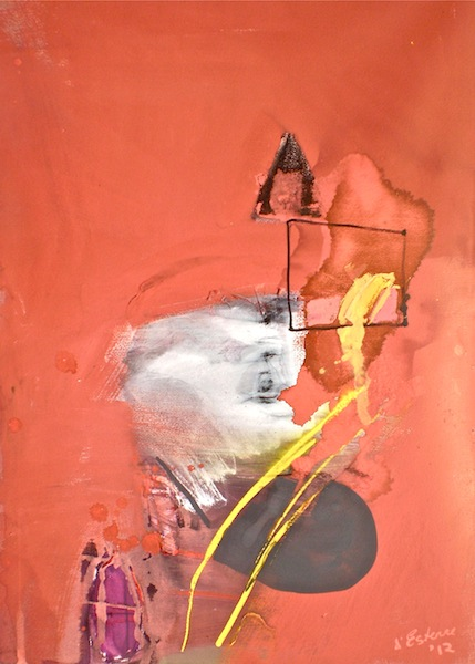 Art titled Thinking about the Golden Spike, 2012, 72x50 cm, gouache, charcoal and pastel from Begin with Sand, Silt and Water