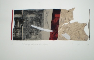 Toward the Beach, 2010, intaglio and collage 14x32 cm print, 35x50 cm paper