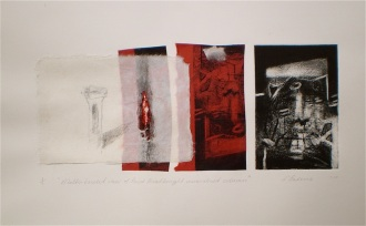 Mineralised Columns, 2010, intaglio, collage and pencil 13x30 cm print, 35x50 cm paper