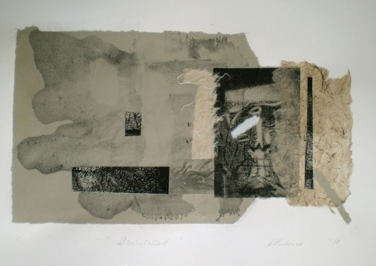 Diminished, 2010, intaglio, collage and wash 20x33 cm print, 35x50 cm paper