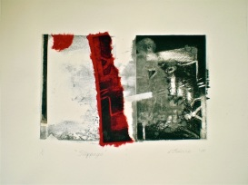 Intaglio, collage and wash
