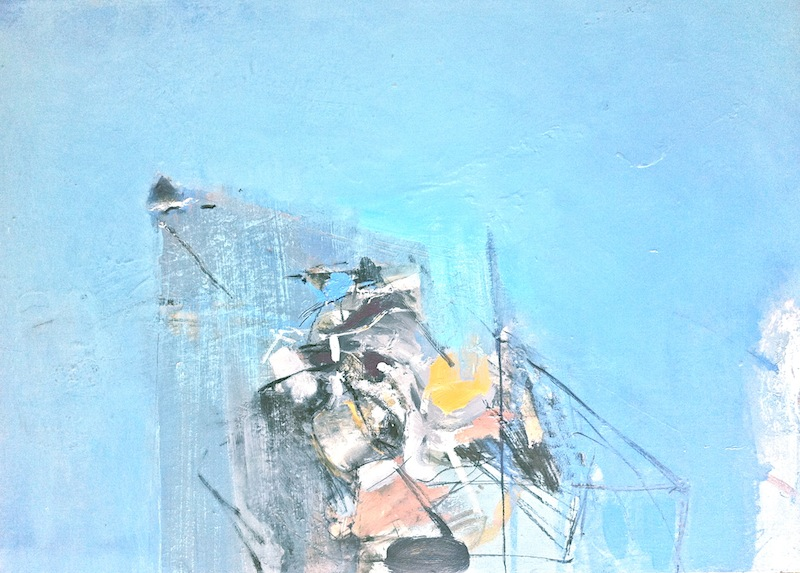 Ear to the Foreground, 2014, 62x84 cm, mixed media and oil on canvas from the series titled Poet's Process