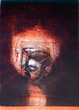 Risen, 1/1, 2009, intaglio and drypoint 26x18 cm print, 38x28 cm paper