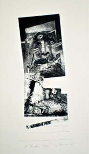 Broken Edge, 2010, intaglio, collage and pencil 27x10 print, 50x35 cm paper