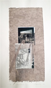 Fault Lines, 2010, intaglio. handmade paper, collage and staples 38x18 cm print, 50x35 cm paper.