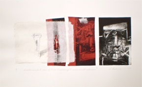Mineralised Column, 2010, intaglio and collage 13x30 cm print, 35x50 cm paper
