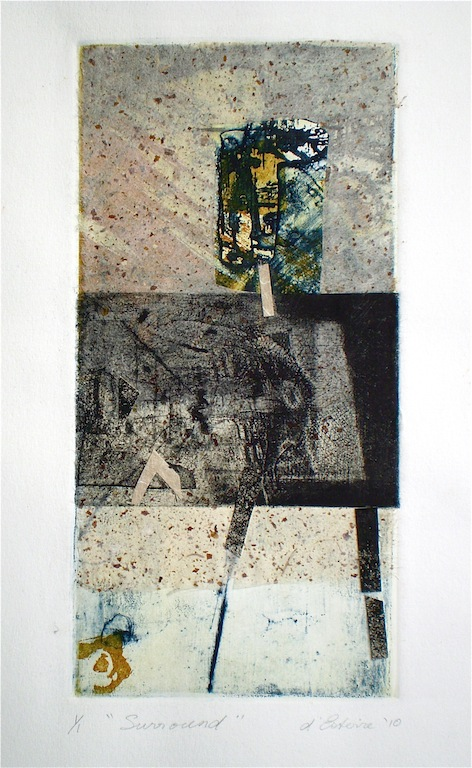 A intaglio and collage titled Surround, 2010, from series titled Return to Sand and water