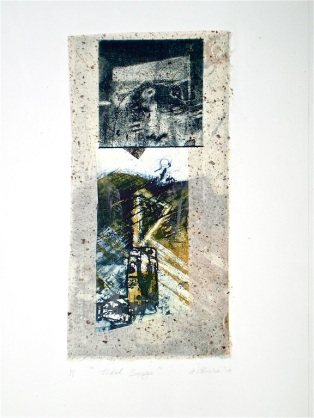 Tidal Surge, 2010, intaglio and collage 26x16 cm print, 48x35 cm paper