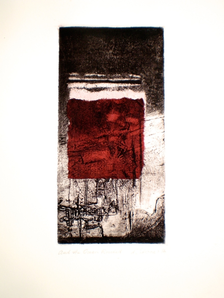 Etching titled And the Ocean Rusted, 2014, 25x12 cm print, 50x35 cm paper, intaglio and chine-colle on Fabriano