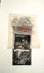 Print titled Karijini, 2014, 33x22 cm print, 50x35 cm paper, intaglio, chine-colle and rice paper frottage on Fabriano