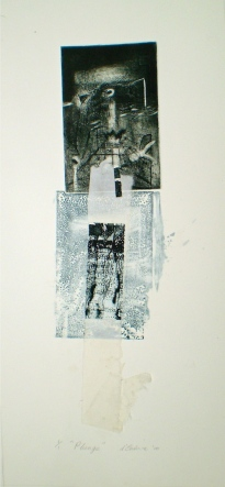Plunge 2, 2010, intaglio and chine-colle 36x12 cm print, 50x35 cm paper