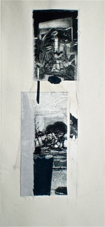Resurface 1, 2010, intaglio and chine-colle 44x20 cm print, 50x35 cm paper