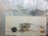 Frottage on gesso wash background