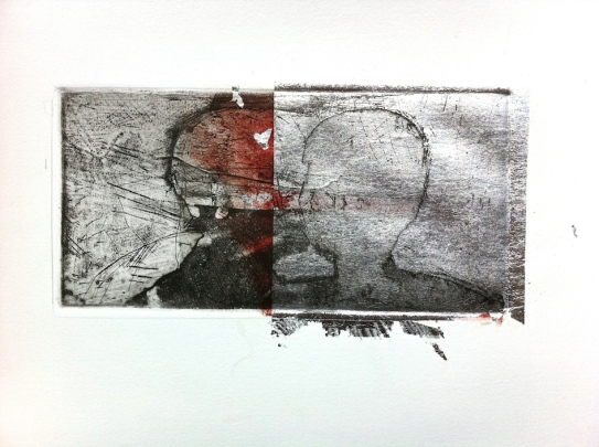 Terrestrial Mind 1, 2015, intaglio and silver leaf on BFK Rives 13x26 cm