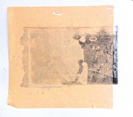B. Chine colle and silver leaf over B. etching layer