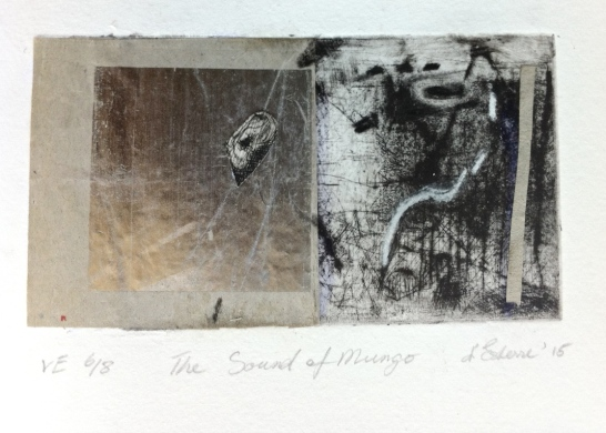 The Sound of Mungo, VE 6/8, 2015, intaglio and collage, 12x6 cm