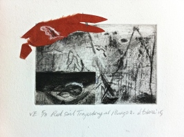 Red Soil Trajectory at Mungo 2, VE 5/8, 2015, intaglio and collage, 10x8 cm