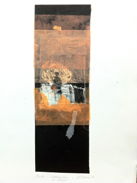 Setting Sun at Mungo, 2015, drypoint, copper leaf and paper on BFK Rives