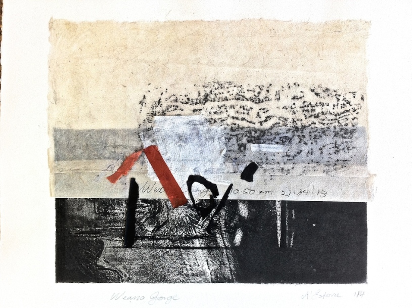 Weano Gorge, 2015, frottage, intaglio and collage