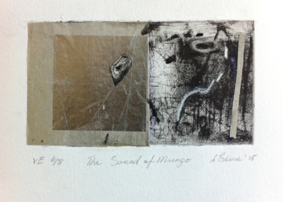 The Sound of Mungo, 6/8, V.E. 2015, intaglio and silver leaf.