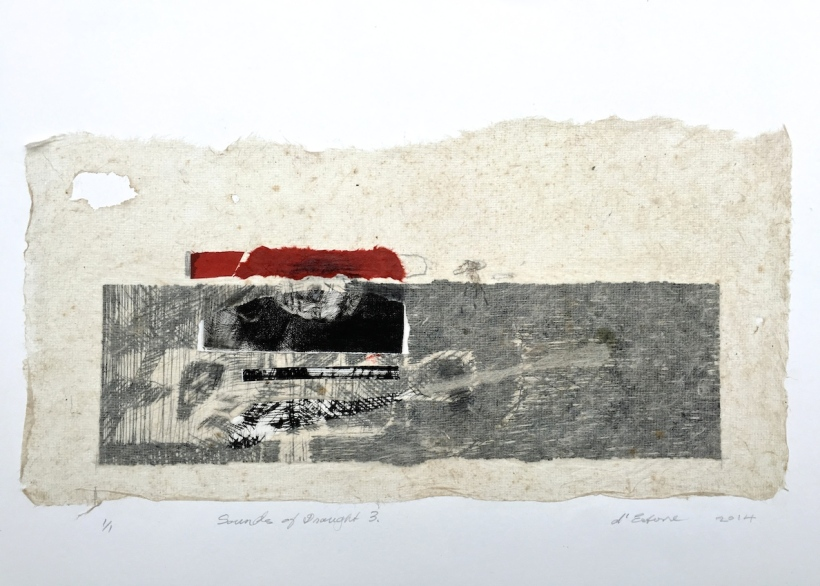 Sounds of Drought 3, 2014, etching collage