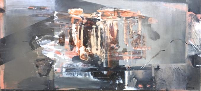 Point Roadknight Portal,oil on gessoed board, 110x240 cm