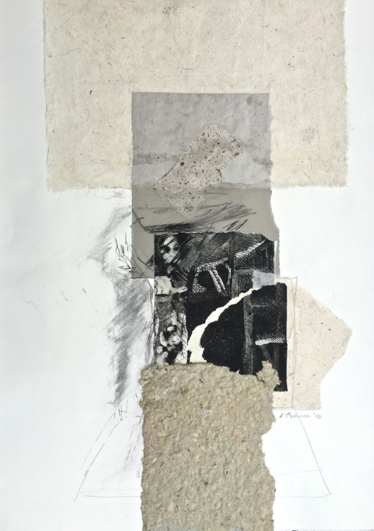 Between Sand and Rock, 2016, intaglio, chine-colle and handmade paper, 2016, 50x35 cm