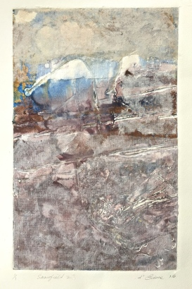 Snowfields 2, 2016, viscosity print and hand made paper, 50x35cm