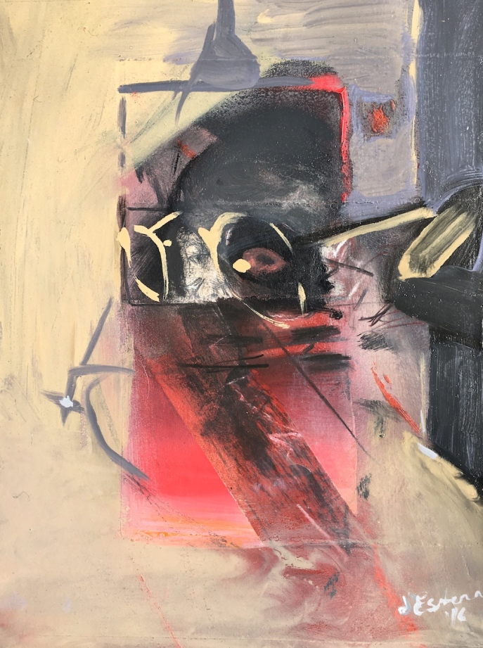 Behind the Mask, 2014-16, oil on gesso and intaglio, 36x24 cm