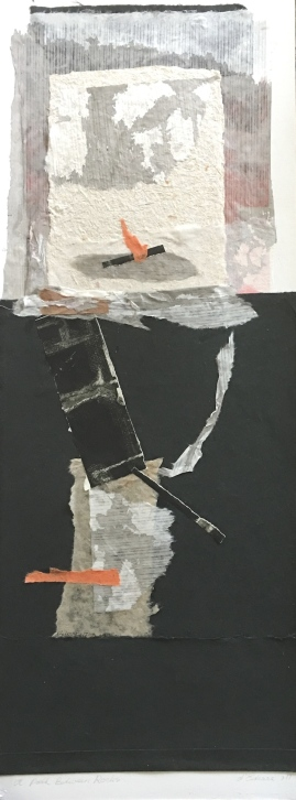 A Path between Rock, 2017, intaglio, rice paper and handmade paper, over a digital print, 75x25 cm