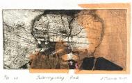 'Interrogating Rock', 9/10, v.e., 2017, intaglio and chine colle, 14x26 cm