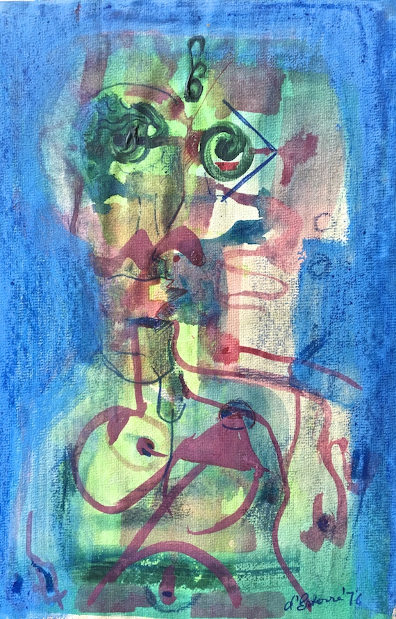 The Couple, 1976, pastel & watercolour, 24x18 cm